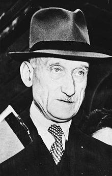 Robert Schuman, en 1949. Président du conseil des ministres, de l'assemblée parlementaire européenne, député français (1886-1963)