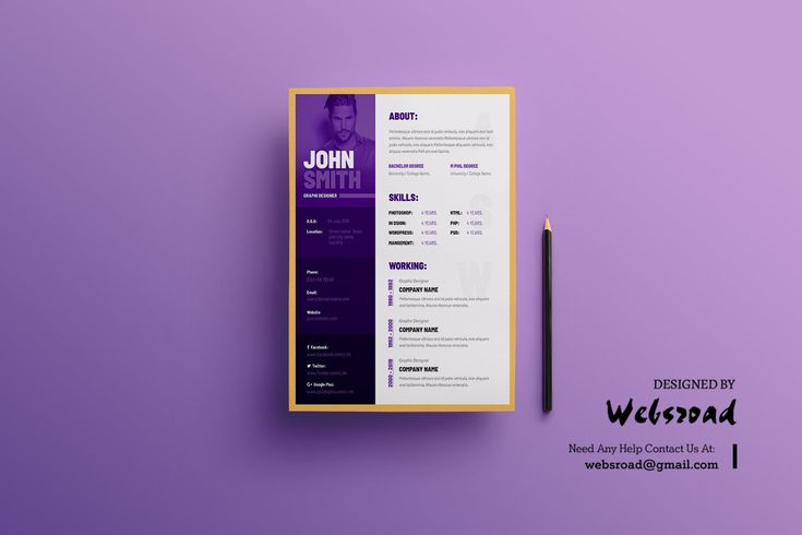 Creative resume cv template by websroad on envato