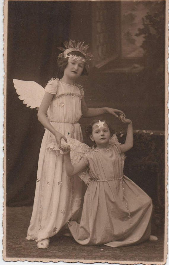RESERVED for Anna  | Angel girls, heavenly girls, angel wings, angel costumes, dress up, fancy dress, star crowns, vernacular  (rppc/ch436)