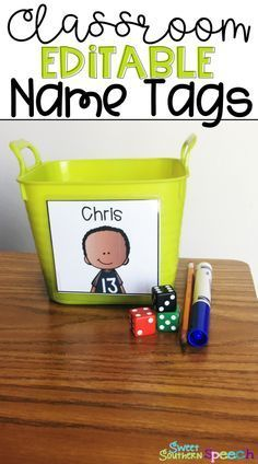 Classroom and student name tags you can edit and personalize for every student. These work great for book bin labels!