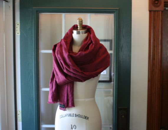 Unisex Oxblood Red 100% Linen Scarf / by by BreatheAgainClothing