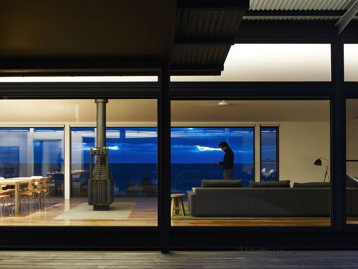 Waterfront Residence Located in the Seashore : Home Design Under Modern Style Among Glass Wall Decoration Ideas Used Wooden Deck Flooring As Outdoor Space Also Modern Furniture