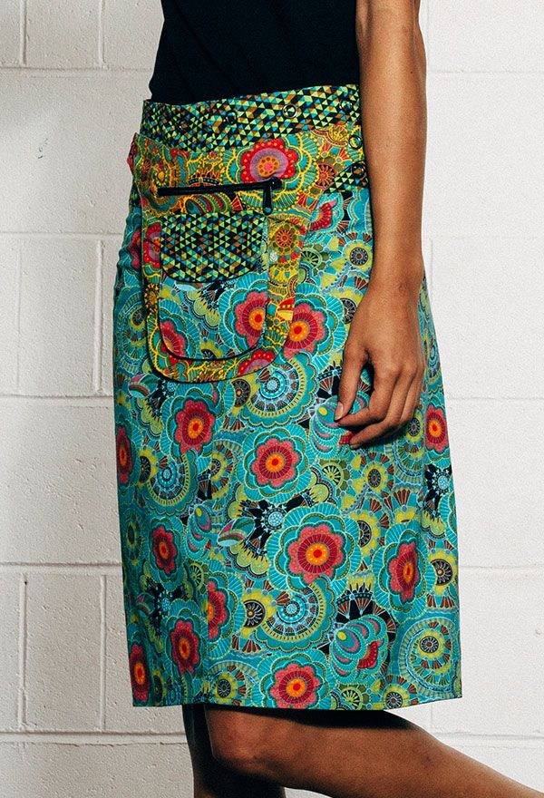 Fully reversible long Rosanna Skirt with detachable pocket. Different print on each side. Expandable adjustable press studs for different fit options. See pocket detail and/or waistband for reverse print detail.