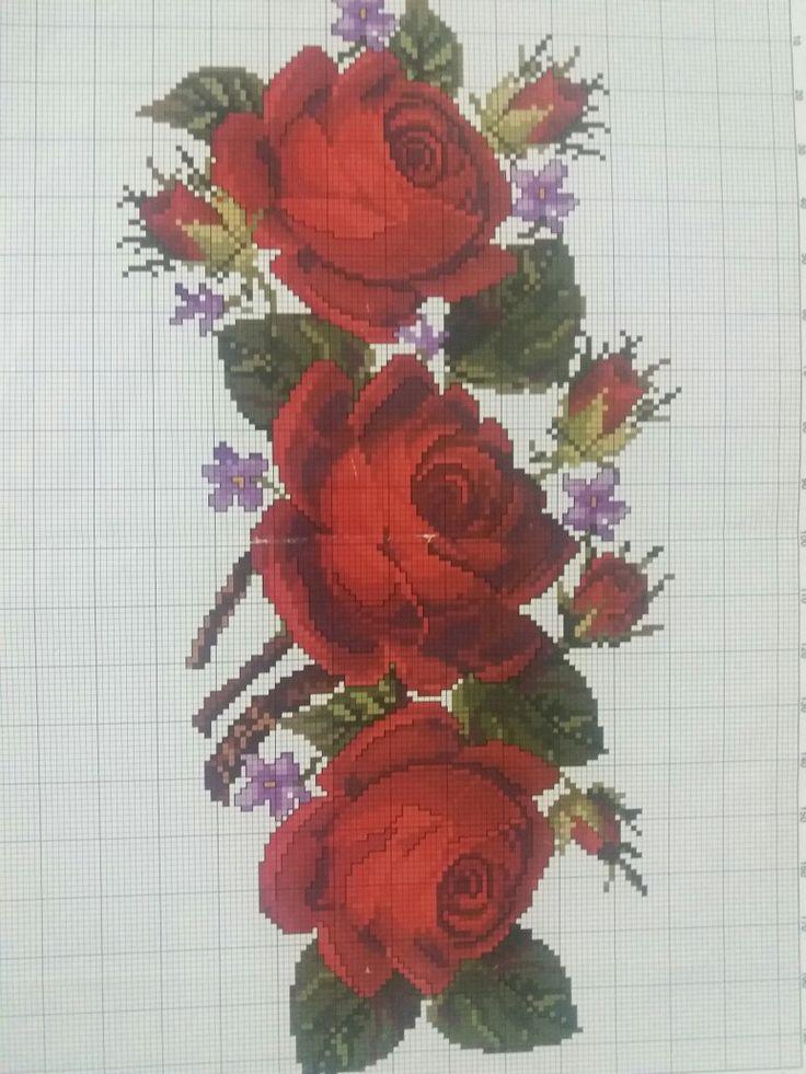 Rosas rojas, hermosas punto de Cruz