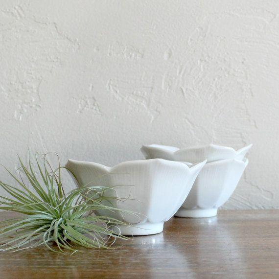3 White Lotus Bowls, Vintage Lotus Bowls, Rice Bowls, Serving Bowls, Flower Bowls, Nesting Bowls, Snack Bowls, Succulent Planter, Asian Bowl