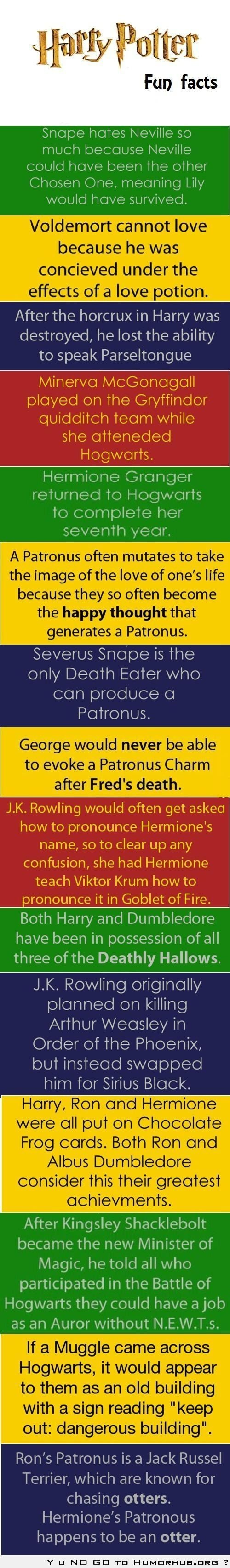 Harry Potter Fun Facts...I dont get it but my daughter will i guess