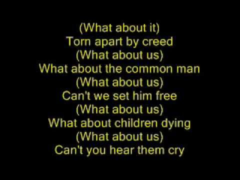 Michael Jackson- The Earth Song WITH LYRICS - this song is VERY POWERFUL.... weeping for the Earth...its beautiful...the way he sings it..it's so compelling. I love it, and it makes me feel vulnerable and pay more attention to what I can with my family to help these issues....