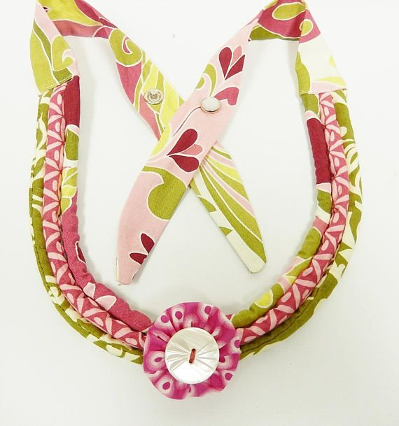 Fabric Cotton Necklace with Round Fabric Pendant Snap