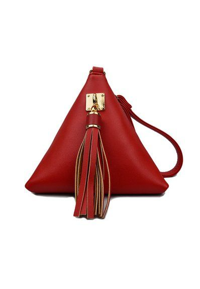 OTW Women's Solid Color Triangle Shape Tassels Cluth Bag Small Coin Purse PU Green: Handbags: Amazon.com