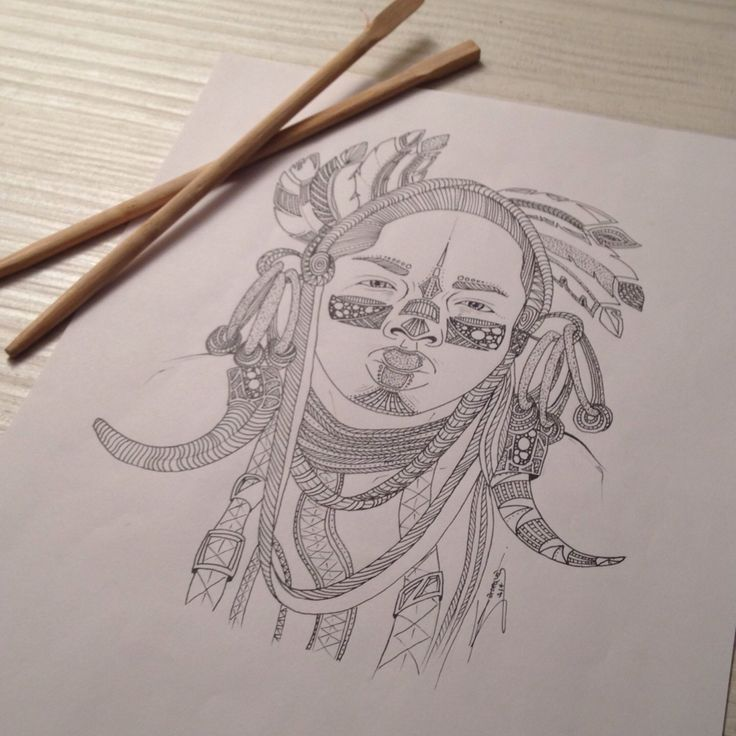 My drawing, Tribal 007, portrait of a girl. You like this picture ?