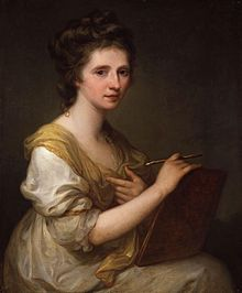 Self portrait of Maria Anna Angelika Kauffmann RA (30 October 1741 – 5 November 1807), usually known in English as Angelica Kauffman, an Austrian Neoclassical painter who had a successful career in London and Rome. She was one of the two female founding members of the Royal Academy in London in 1768.
