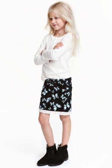 Manšestrová sukně s krajkou | H&M
