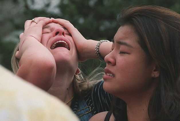 Deadliest U.S. school shootings  Updated 11:50 am, Friday, December 14, 2012 Students react at a triage area near Columbine High School in Littleton Colo., during a shooting rampage by two students on April 20, 1999. Eric Harris and Dylan Klebold killed 12 students and a teacher before taking their own lives in what remains the deadliest school attack in U.S. history.  Photo: George Kochaniec, ASSOCIATED PRESS / SF