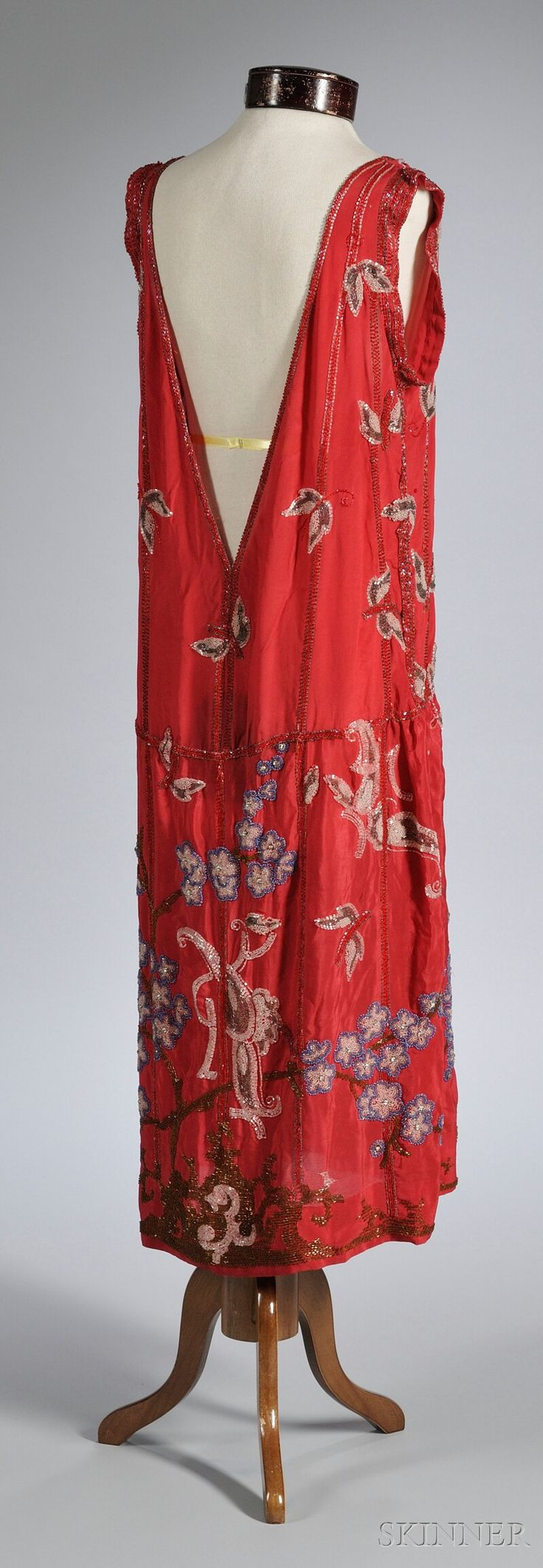 late 1920s beaded silk dress with floral pattern