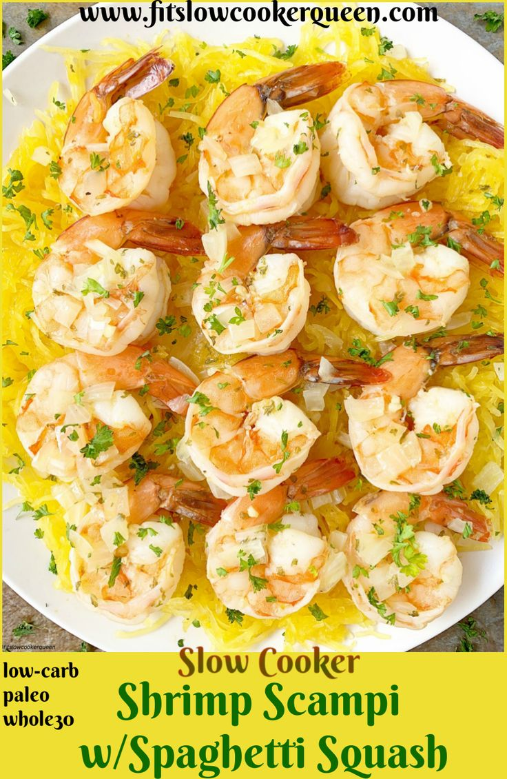 Slow Cooker Shrimp Scampi with Spaghetti Squash (Low-Carb, Paleo, Whole30)