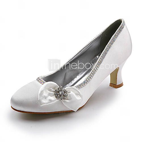 Satin Upper Mid Heel Closed Toes With Flower Rhinestone Wedding Bridal Shoes