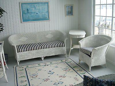 Antique Heywood Wakefield Lloyd Loom 1920u0027s 30u0027s Wicker Sofa Chair Table Set
