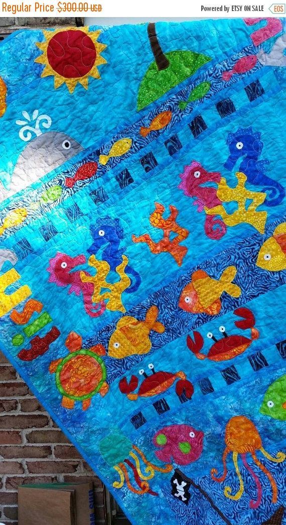 ON SALE Ocean Baby Crib or Ocean Toddler Quilt, Beach Gender Neutral Fish Crabs Seahorse Ocean Shark Pirate Nursery Theme Appliqued Batik