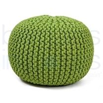 Luxury Green Hand Knitted Pouf.