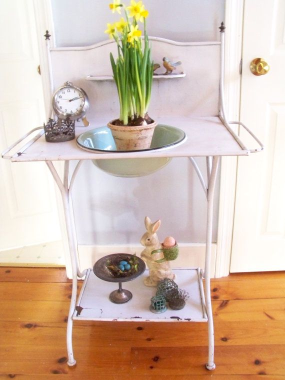 Antique Metal Washstand Wash Stand Farmhouse Bar Potting Bench Wash Stand And Antique