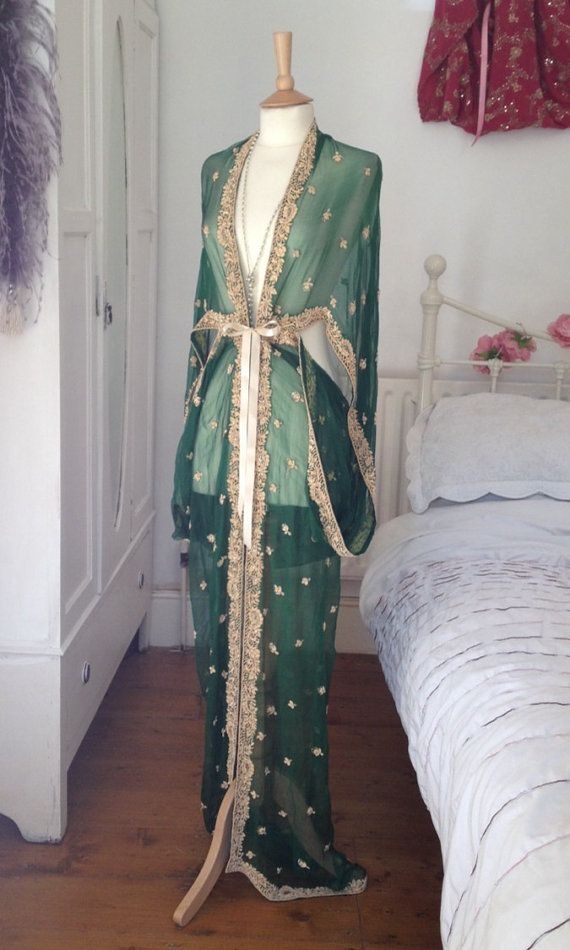 Embroidered 1920's Style Green Gown by Talulahblueburlesque