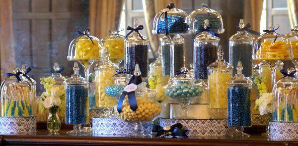 blue and yellow candy buffet  good info bridalguide.com/blogs/bridal-buzz/candy-buffet