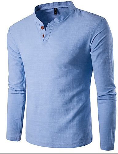 Mens Casual Linen V-neck Chinese Collar Long Sleeve T-shirt Fashion Solid  Color Tops - Newchic Mobile. Linen Shirts ... 4fdcfb9f86fb