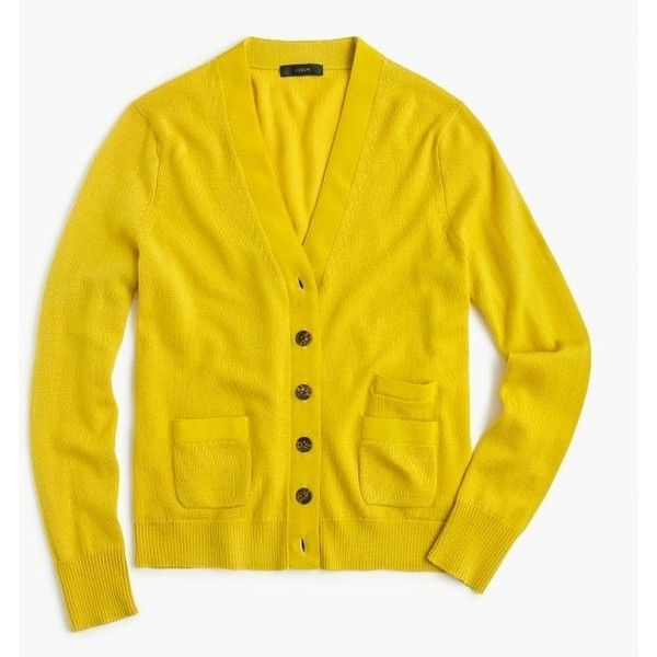J.Crew Harlow Cardigan Sweater (66.180 CLP) ❤ liked on Polyvore featuring tops, j crew tops, yellow long sleeve top, long sleeve tops, yellow top and wet look top