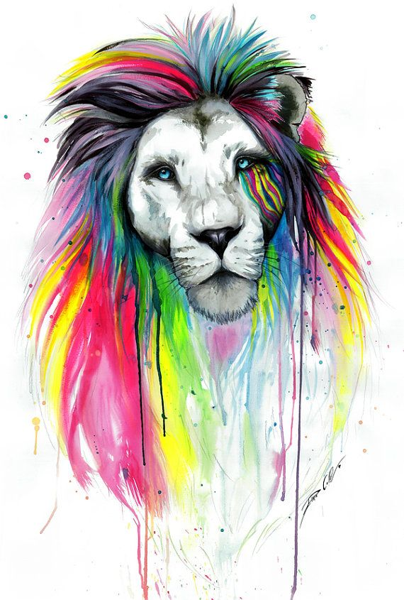 I'm a Leo - Just love this print!  Rainbow main signed Art Print by PixieColdArt on Etsy