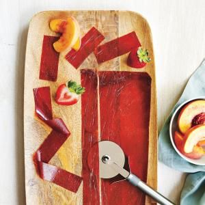 Peach-Strawberry Fruit Leather | MyRecipes.com This kid-friendly fruit snack recipe requires just 4 ingredients.