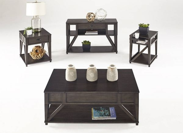 Consort Transitional Midnight Oak Solidwood MDF 3pc Coffee Table Set