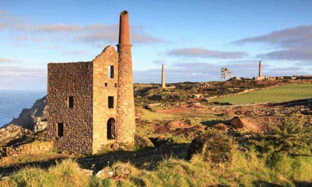 Tin mine buildings near Botallack, St Just, Cornwall.