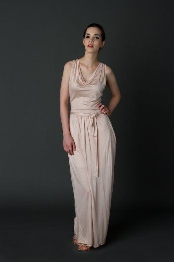 Jersey long dress with draped cleavage
