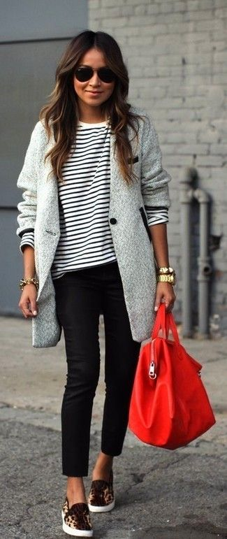 Women's Grey Herringbone Coat, White and Black Horizontal Striped Long Sleeve T-shirt, Black Skinny Pants, Tan Leopard Suede Slip-on Sneakers