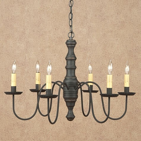 Plymouth Hall Chandelier Shown In Black Over Red