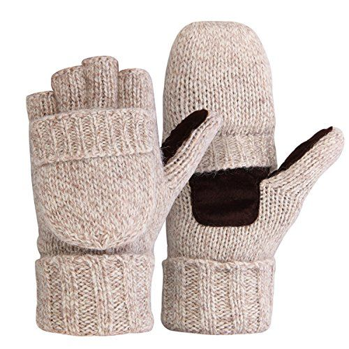Bodvera Thermal Insulation Fingerless Texting Gloves Unisex Winter Warm Knitted Convertible Mittens with Flap Cover BG