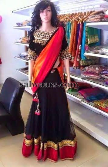 Black Rich Net Half Saree   Saree Blouse Patterns