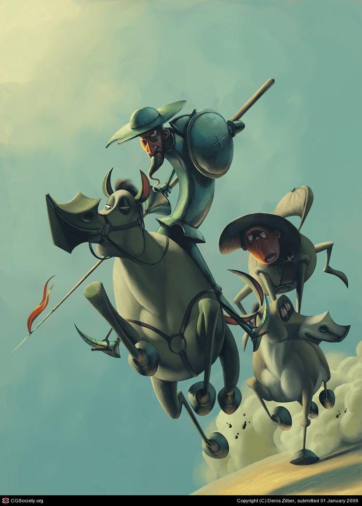 Don Quijote, su caballo Rocinante y su fiel compañero, Sancho Panza