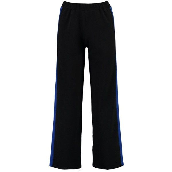 Boohoo Petite Eve Contrast Panel Wide Leg Relaxed Trouser ($26) ❤ liked on Polyvore featuring pants, relaxed pants, petite pants, relaxed fit pants, wide leg trousers and petite trousers