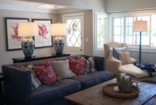 Transitional Living Room With Coastal Vibe And Blue: Nautical Living Room Http://st.houzz.com/simgs
