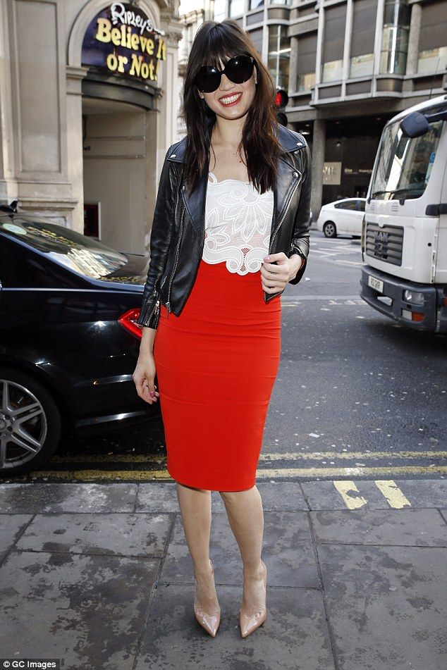 Scarlet starlet: Daisy Lowe showed off her killer silhouette as shearrived at the Picturehouse Central for Ad Week on Tuesday
