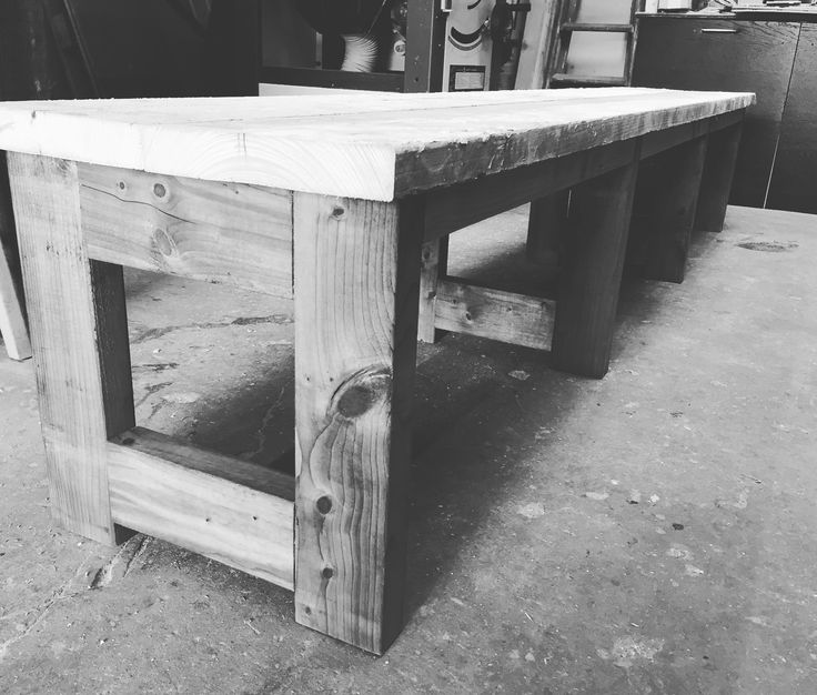 Bench design using reclaimed scaffold boards.  Simple design with a rustic finish