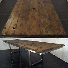 Handmade Industrial Polished Metal Oak Office Meeting Table by Steel Vintage