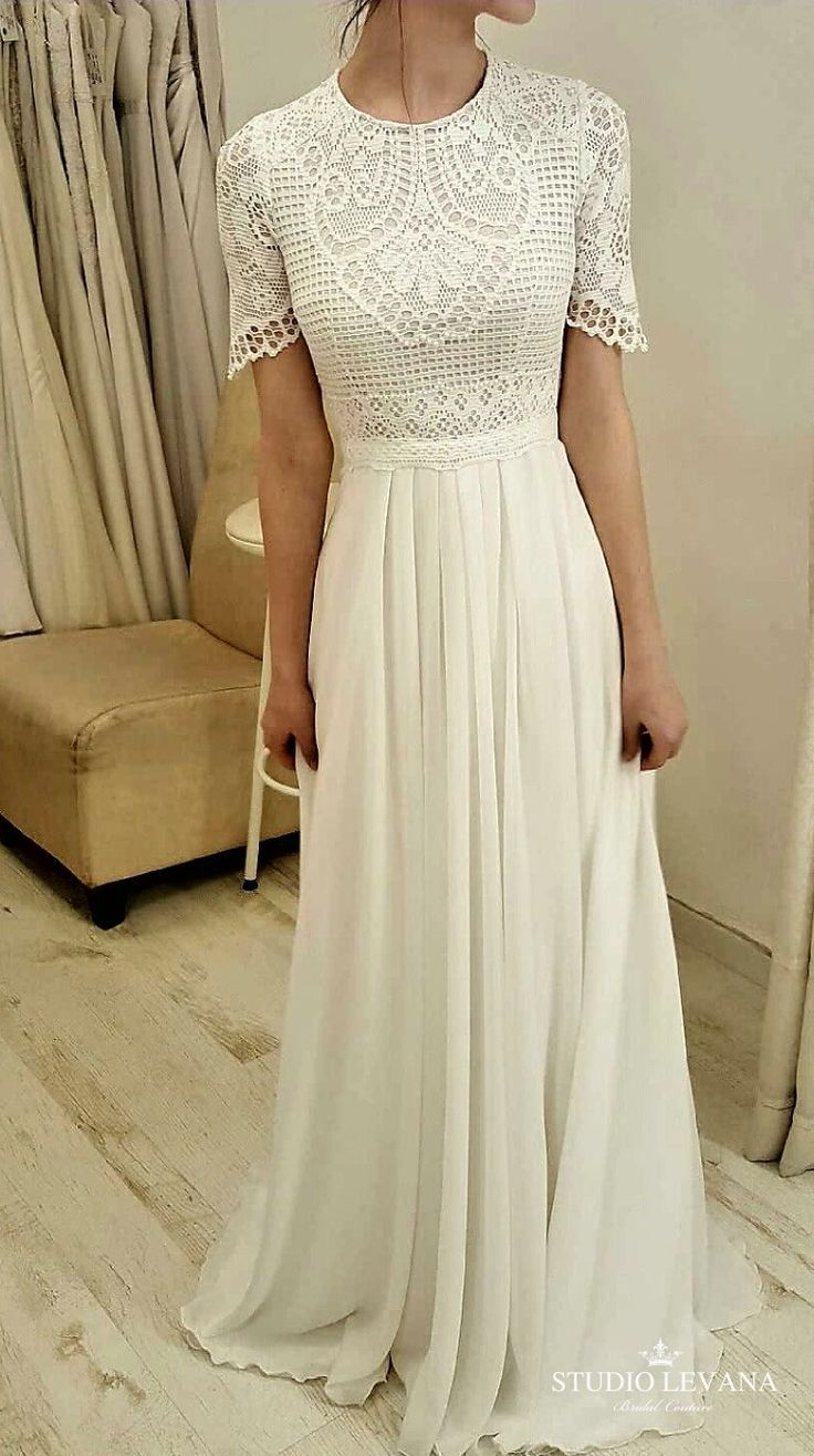 Modest wedding gown with short sleeves. Studio Levana We are want to say thanks …