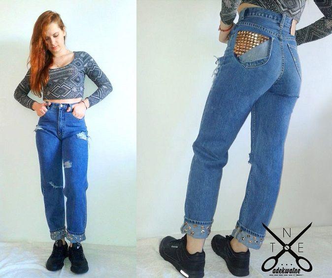 diy jeans, high waist