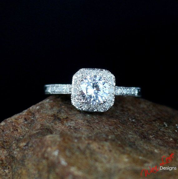 Moissanite & Diamond Antique Halo Filigree Round by WanLoveDesigns