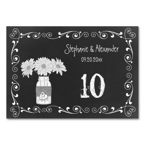 Chalkboard Mason Jar Wedding Table Cards