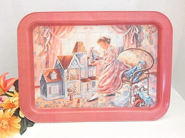 Metal Tray Girls Portable Folding Table Pink Enamel Victorian Doll House Vintage TV Lap Table Breakfast in Bed Serving Tray