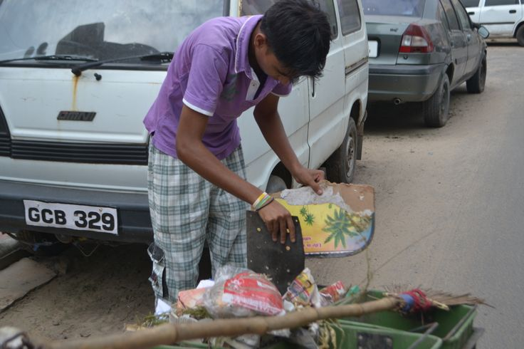 Waste collection from the roads.
