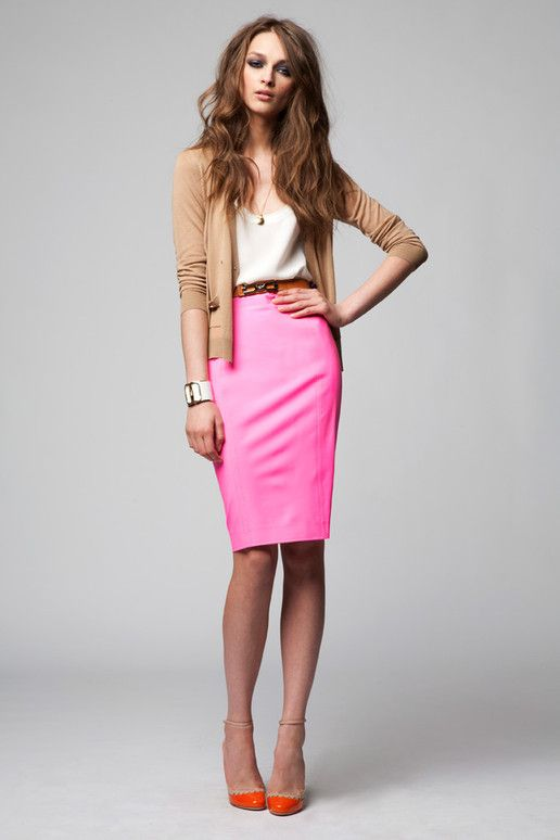 DSquared Resort 2012- love the neutrals with the pink skirt and orange shoes